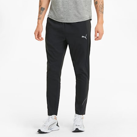 Woven Tapered Men's Running Pants, Puma Black, small-IND