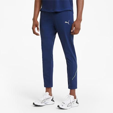 Męskie zwężane spodnie do biegania z tkaniny, Elektro Blue, small