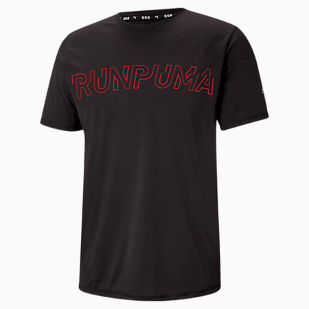 Logo Short Sleeve Men's Running Tee, Puma Black, small