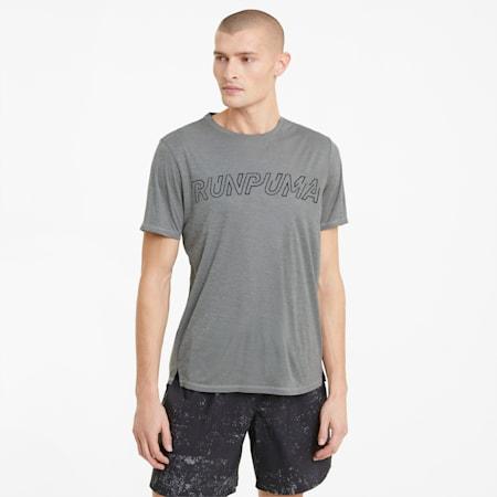 Hardloopshirt met korte mouwen en logo heren, Medium Gray Heather, small