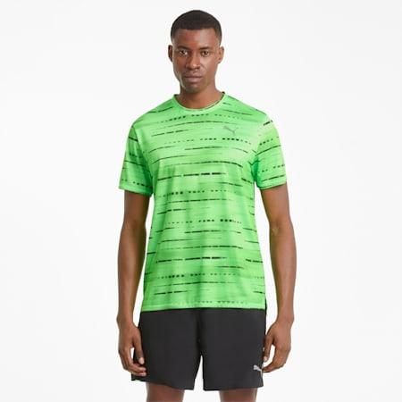 Camiseta para correr estampada para hombre, Elektro Green, pequeño