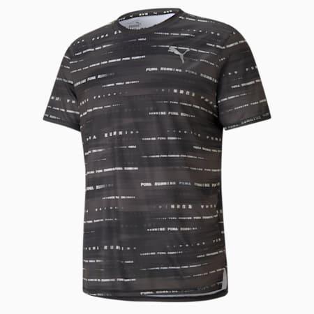 Camiseta para correr estampada para hombre, Puma Black-Eggnog, pequeño