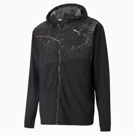 Graphic Hooded Men's Running Jacket, Puma Black, small