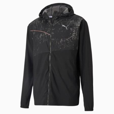Graphic Hooded Men's Running Jacket, Puma Black, small-GBR