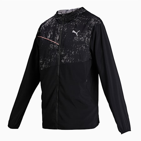 Graphic Hooded Men's Running Jacket, Puma Black, small-IND