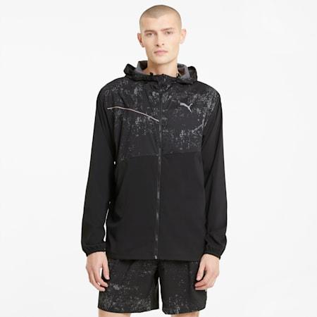 Giacca da running con cappuccio e grafica uomo, Puma Black, small