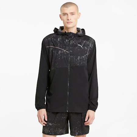 Graphic Hooded Men's Running Jacket, Puma Black, small-SEA