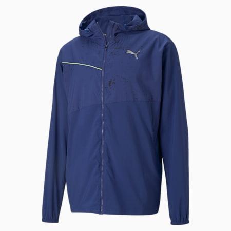 Graphic Hooded Men's Running Jacket, Elektro Blue-Angel Blue, small-IND