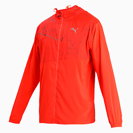 Graphic Hooded Men's Running Jacket, Lava Blast-Puma Black, small-IND