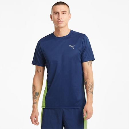 Camiseta de running de manga corta Favourite para hombre, Elektro Blue-Yellow Alert, small