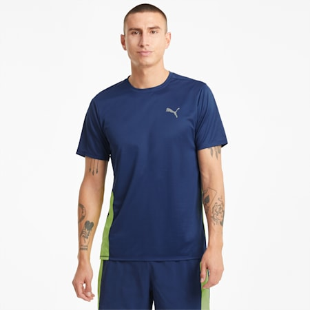 T-shirt da running a maniche corte Favourite uomo, Elektro Blue-Yellow Alert, small