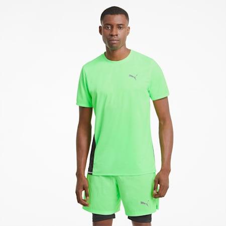 Favourite hardloopshirt met korte mouwen heren, Elektro Green-Puma Black, small