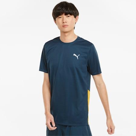 Favourite Short Sleeve Men's Running Tee, Intense Blue-Mineral Yellow, small