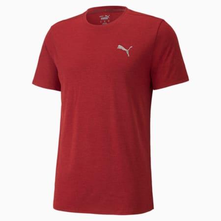 Favourite Heather Short Sleeve Men's Running Tee, Intense Red Heather, small