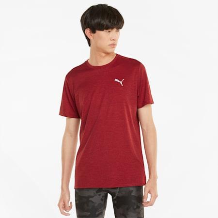T-shirt da running a maniche corte Favourite Heather da uomo, Intense Red Heather, small