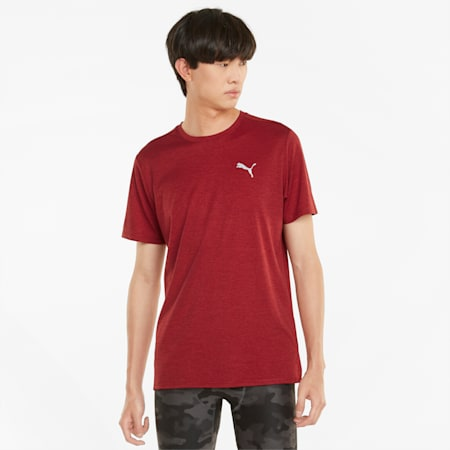 T-shirt de running chiné à manches courtes Favourite pour homme, Intense Red Heather, small
