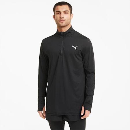 T-shirt de course à fermeture zippée courte Favourite homme, Puma Black, small