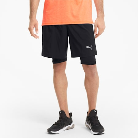 Favorite 2-in-1 Men's Woven Running Shorts, Puma Black, small-GBR