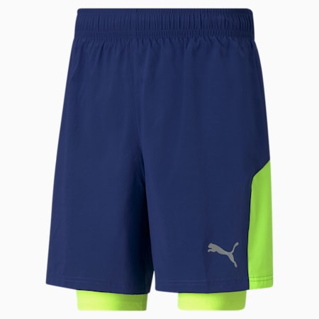 Favorite 2-in-1 Men's Woven Running Shorts, Elektro Blue-Yellow Alert, small
