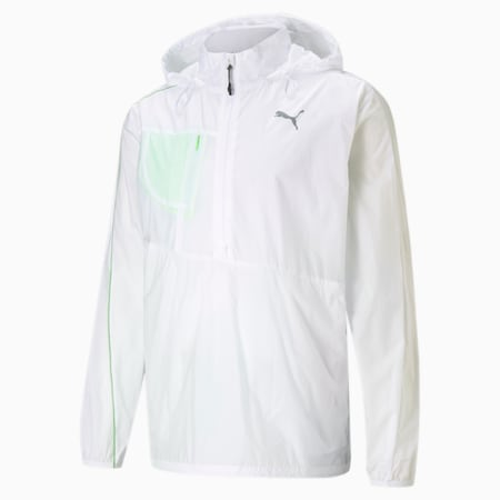 Running Woven Men's Relaxed Jacket, Puma White-Elektro Green, small-IND