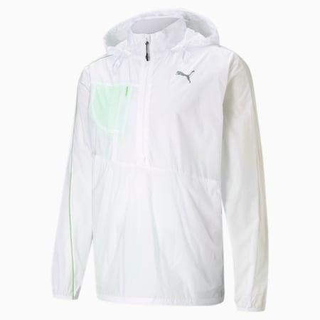 Chaqueta para correr de punto para hombre, Puma White-Elektro Green, pequeño