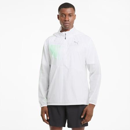 Chaqueta de running de tejido plano para hombre, Puma White-Elektro Green, small