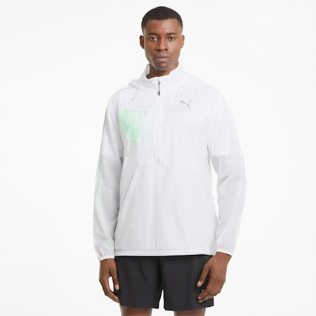 Męska kurtka do biegania z tkaniny, Puma White-Elektro Green, small