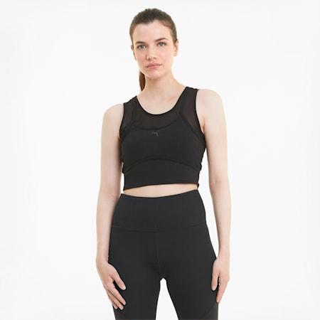 Studio Layered Women's Training Crop Top, Puma Black, small-IND