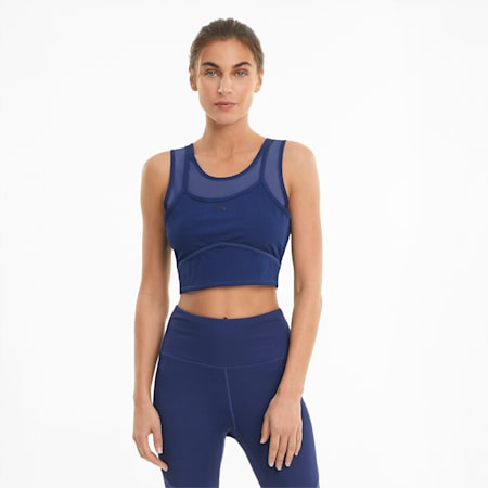 Studio Layered Women's Training Crop Top, Elektro Blue, small