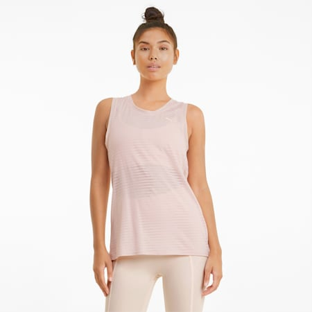 Damska koszulka treningowa na ramiączkach Studio Burnout, Cloud Pink-burn out print, small