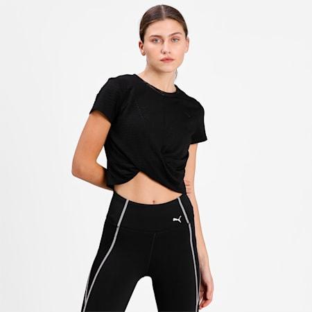 Studio Twist Burnout Women's Training Slim T-shirt, Puma Black-burn out print, small-IND