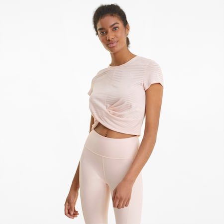 Studio Twist Burnout Women's Training Slim T-shirt, Cloud Pink-burn out print, small-IND