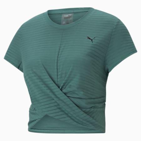 Studio Twist Burnout Women's Training Slim T-shirt, Blue Spruce-burn out print, small-IND