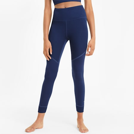 Studio Ribbed High Waist 7/8 Women's Training Leggings, Elektro Blue, small