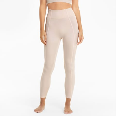 Studio Side Ribbed High Waist 7/8 Women's Training Leggings, Cloud Pink, small-IND