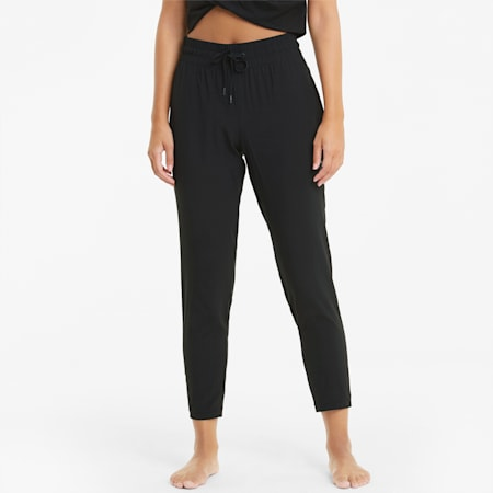 Studio Woven Tapered Women's Training Relaxed Pants, Puma Black, small-IND