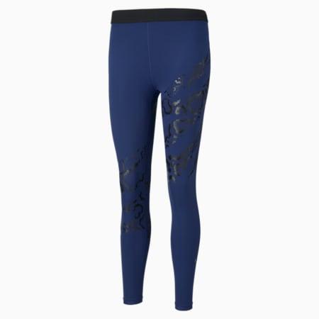 Untamed Printed Women's Training Leggings, Elektro Blue- Black-print, small-IND