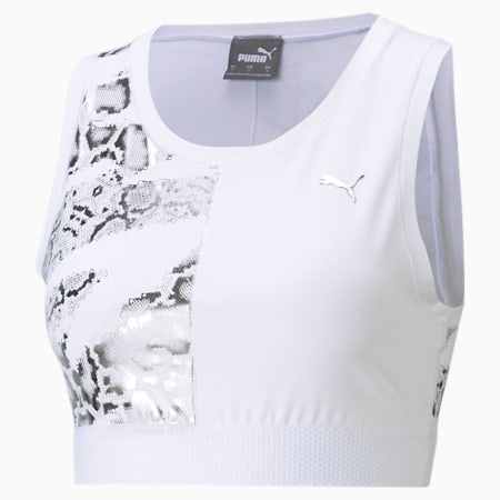 Untamed Women's Training Cropped Tank Top, Puma White-print, small-IND