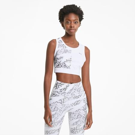 Tank top corto da allenamento UNTMD donna, Puma White-print, small