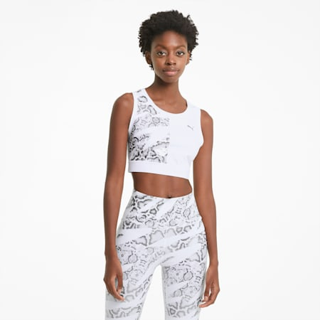 UNTMD Women's Training Cropped Tank Top, Puma White-print, small