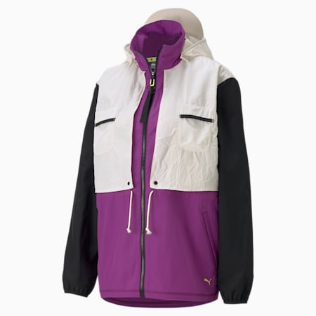 PUMA x FIRST MILE Woven Women's Training Relaxed Jacket, Byzantium-multi, small-IND