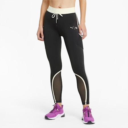 PUMA x FIRST MILE Women's 7/8 Training Leggings, Puma Black-Eggnog, small