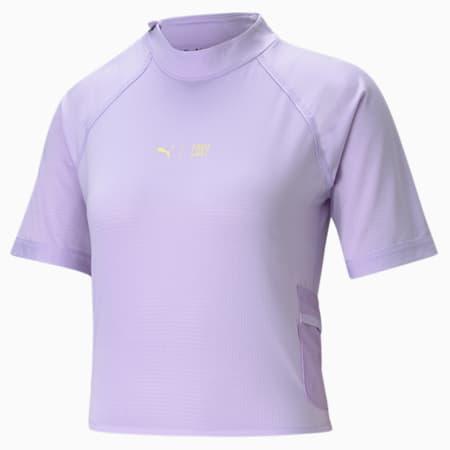Camiseta de entrenamientocon cuello altoPUMA x FIRST MILEpara mujer, Light Lavender, pequeño