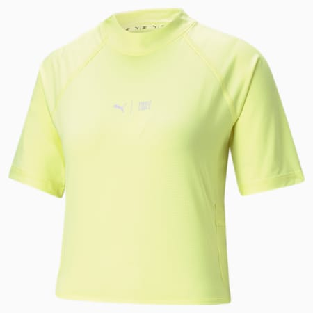 PUMA x FIRST MILE Women's Mock Neck Training Tee, SOFT FLUO YELLOW, small-GBR