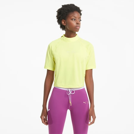 PUMA x FIRST MILE Mock Damen Trainings-T-Shirt, SOFT FLUO YELLOW, small