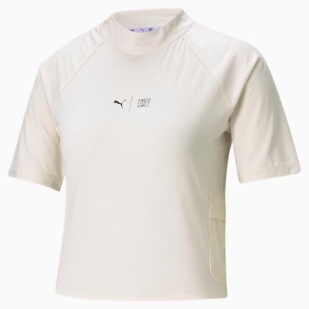 Camiseta de entrenamientocon cuello altoPUMA x FIRST MILEpara mujer, Eggnog, pequeño