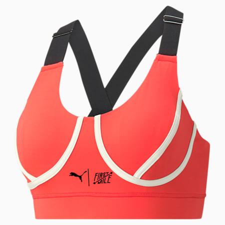 PUMA x FIRST MILE Women's Mid Impact Padded Bra, Sunblaze-Puma Black, small-GBR