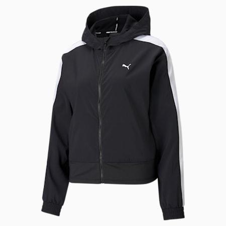 Favorite Women's Woven Training Jacket, Puma Black, small-SEA