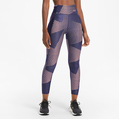 Favourite Printed High Waist 7/8 Women's Training Leggings, Elektro Blue-AOP, small