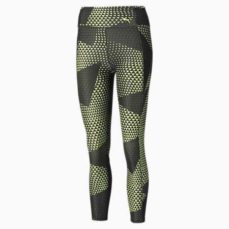 Favourite Printed High Waist 7/8 Women's Training Tights, SOFT FLUO YELLOW-AOP, small-IND